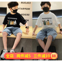 T-shirt summer leisure time There are models in the real shot nothing Sweat absorption male Other / other Four, five Cotton and hemp Cartoon animation Short sleeve Crew neck White Collection Plus purchase priority, black Collection Plus purchase priority 110cm,120cm,130cm,140cm,150cm,160cm