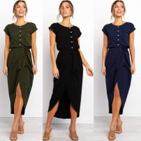 Dress Summer of 2019 Black, Navy, army green S,M,L,XL Mid length dress singleton  Short sleeve street Crew neck middle-waisted Solid color Socket Irregular skirt other Others 25-29 years old Type H Bowknot, lace, asymmetry, strap, button 31% (inclusive) - 50% (inclusive) other cotton