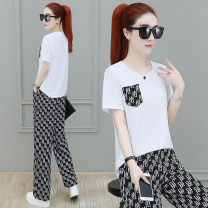 Women's large Summer 2021 White black M L XL Two piece set commute easy thin Socket Short sleeve letter Crew neck routine polyester fiber Collage routine 6603DD78 Meizhinu 25-29 years old pocket 96% and above Polyester 100% Pure e-commerce (online only) trousers