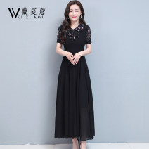Dress Summer 2021 Green black red M L XL 2XL 3XL longuette singleton  Short sleeve commute Doll Collar middle-waisted Broken flowers Socket Big swing routine 35-39 years old Type A Weizikou Korean version Three dimensional decorative button zipper printing with ruffle stitching WN2C26DR71397494