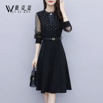 Dress Spring 2021 black M L XL 2XL 3XL 4XL Mid length dress singleton  Long sleeves commute Crew neck middle-waisted Dot Socket A-line skirt routine 30-34 years old Type A Weizikou Korean version WG1108AT61567168 More than 95% polyester fiber Polyester 97% other 3% Pure e-commerce (online only)