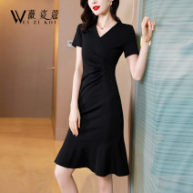 Dress Summer 2021 black M L XL 2XL 3XL Middle-skirt singleton  Short sleeve commute V-neck middle-waisted Solid color Socket Ruffle Skirt routine 30-34 years old Type A Weizikou Korean version Three dimensional decorative zipper with ruffle WB4458H97667481 More than 95% polyester fiber