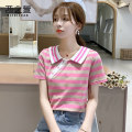 T-shirt Pink Blue S M L XL 2XL Summer 2020 Short sleeve Doll Collar easy Regular routine commute other 96% and above 18-24 years old Korean version other Geometric pattern thick horizontal stripe color matching The west of Xuan Pleated stitching button fold Other 100%