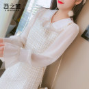Dress Winter of 2019 Apricot S M L XL 2XL Mid length dress singleton  Long sleeves commute Doll Collar High waist lattice Socket A-line skirt pagoda sleeve Others 18-24 years old Type A The west of Xuan Korean version Stitching beads XZX520135908 More than 95% other Other 100%