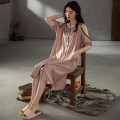 Nightdress VIRRI CIAGA YC7001,YC7002,YC7003,YC7004,YC7005 M [recommended 80-100 kg], l [recommended 100-120 kg], XL [recommended 120-140 kg] Simplicity Short sleeve Leisure home Middle-skirt summer Solid color youth Small lapel silk printing More than 95% EE05042110 200g and below