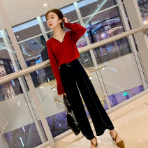 Fashion suit Spring of 2019 S,M,L,XL,XXL Red top + wide leg pants Other / other cz9887788 81% (inclusive) - 90% (inclusive)