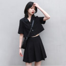Women's large Summer 2021 black Large L, large XL, s, M Two piece set commute Short sleeve Solid color Korean version V-neck Short skirt Pleated skirt Single row two buttons