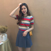 Middle aged and old women's wear Summer 2021 S,M,L,XL commute suit Self cultivation Two piece set stripe Socket moderate Crew neck routine routine 91% (inclusive) - 95% (inclusive) Short skirt Pleated skirt Korean version