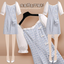 Dress Summer 2021 212712 blue dress (with cloth bag) S M L XL Short skirt singleton  Short sleeve commute square neck High waist Broken flowers Socket A-line skirt puff sleeve Others 25-29 years old Type A Onedawm / Chuli ethnic style 212712#1 More than 95% other other Other 100%