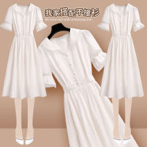 Dress Summer 2021 213069 white dress S M L XL Mid length dress singleton  Short sleeve commute V-neck High waist Solid color Socket Ruffle Skirt pagoda sleeve Others 25-29 years old Type A Onedawm / Chuli Korean version Ruffle pleated button with Auricularia auricula 213069#1 More than 95% other