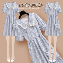 Dress Summer 2021 217155 blue dress with belt S M L XL Short skirt singleton  Short sleeve commute Doll Collar High waist lattice Socket A-line skirt puff sleeve Others 25-29 years old Type A Onedawm / Chuli Korean version Ruffle pleat stitching button lace 217155#1 More than 95% other other