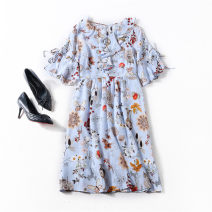 Dress Spring 2020 Decor M,L,XL Middle-skirt singleton  Short sleeve commute Crew neck middle-waisted Decor Socket A-line skirt Lotus leaf sleeve Others Type X Ol style Ruffles, zippers More than 95% Crepe de Chine silk