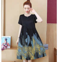 Women's large Summer 2021 black Large XL, large XXL, large XXL, large XXXXL, large XXXXL singleton  commute moderate Short sleeve Decor Crew neck polyester fiber Lotus leaf sleeve 9521# 25-29 years old Nail bead 51% (inclusive) - 70% (inclusive) Medium length other