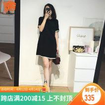 Dress Summer 2021 Black S,M,L,XL,2XL Mid length dress singleton  Short sleeve commute Crew neck zipper routine Others Type A Korean version