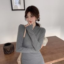 Dress Spring 2021 Black grey S M L Short skirt singleton  Long sleeves commute Half high collar High waist Solid color Socket A-line skirt routine Others 18-24 years old Type A ikllo Retro Splicing thread More than 95% other other Other 100% Exclusive payment of tmall