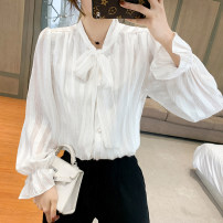 shirt Rose red white S M L XL Spring 2021 other 96% and above Long sleeves commute Regular V-neck Single row multi button routine Solid color 25-29 years old Straight cylinder ikllo Retro Lace up with ruffles Other 100% Exclusive payment of tmall Chiffon