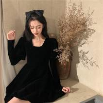 Dress Winter 2020 black S M L XL Short skirt singleton  Long sleeves commute square neck High waist Solid color other A-line skirt routine Others 18-24 years old Type A ikllo literature Splicing asymmetry A14775 71% (inclusive) - 80% (inclusive) other polyester fiber Polyester 80% other 20%