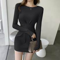 Dress Spring 2021 Black Beige S M L XL Short skirt singleton  Long sleeves commute Crew neck High waist Solid color Socket A-line skirt routine Others 18-24 years old Type A ikllo Retro Fold splicing thread asymmetry More than 95% other other Other 100% Exclusive payment of tmall