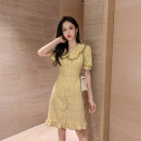 Dress Summer of 2019 Yellow red S M L XL Short skirt singleton  Short sleeve commute Doll Collar High waist lattice Single breasted A-line skirt Lotus leaf sleeve Others 18-24 years old Type A ikllo Korean version Button with lotus leaf and Auricularia auricula More than 95% other other Other 100%