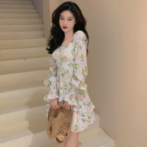 Dress Summer 2021 Picture color S M L Short skirt singleton  Long sleeves commute V-neck High waist Decor Socket Ruffle Skirt Lotus leaf sleeve Others 18-24 years old Type A ikllo Retro Ruffle stitching printing More than 95% Chiffon other Other 100% Pure e-commerce (online only)