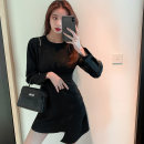 Dress Spring 2021 black S M L XL Short skirt singleton  Long sleeves commute Crew neck High waist Solid color zipper Irregular skirt routine Others 18-24 years old Type A ikllo Retro Asymmetric splicing thread More than 95% other other Other 100% Exclusive payment of tmall