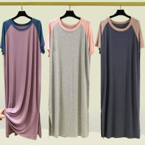 Dress Summer 2021 Light gray, dark gray, taro purple, light khaki M,L,XL,2XL longuette singleton  Short sleeve commute Crew neck High waist Solid color Socket A-line skirt routine Others Type A Splicing 91% (inclusive) - 95% (inclusive) brocade modal