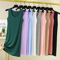 Dress Summer 2020 M,L,XL,2XL Mid length dress singleton  Sleeveless commute Crew neck Loose waist Solid color Socket A-line skirt routine camisole Type A Korean version No trace 91% (inclusive) - 95% (inclusive) brocade modal