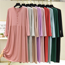Dress Autumn 2020 Black, light gray, light blue, light purple, dark green, lotus root pink, light pink, light khaki, brick red The average size is 80-130 Jin, and the extra size is 130-180 Jin Mid length dress singleton  Long sleeves commute V-neck Loose waist Solid color Socket Big swing routine