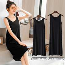 Dress Summer of 2019 M,L,XL,2XL Mid length dress singleton  Sleeveless commute Crew neck Loose waist Solid color Socket A-line skirt other camisole Type A Korean version 91% (inclusive) - 95% (inclusive) brocade modal