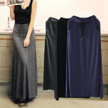 skirt Summer of 2018 M,L,XL Black, Navy, dark grey longuette commute High waist A-line skirt Solid color Type A 91% (inclusive) - 95% (inclusive) brocade modal  pocket Korean version