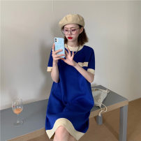 Dress VSETAMELLE Blue, blue (cross zipper) M. L, XL, XXL, XXXL, increase XXXL Korean version Short sleeve routine summer Crew neck Solid color knitting vs867487154