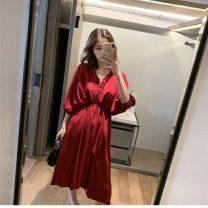 Dress VSETAMELLE Red, black, apricot S,M,L,XL,XXL,XXXL Korean version Short sleeve routine summer V-neck Solid color Chiffon vs54654409