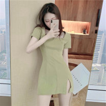 Women's large Summer 2020 Green pink S M L XL singleton  commute Self cultivation moderate Short sleeve Korean version square neck routine XG60515 Glganrlin / Ganlin 18-24 years old 71% (inclusive) - 80% (inclusive) Short skirt Polyester 55% other 45% Pure e-commerce (online only) other