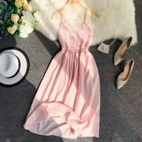Dress Summer 2020 Purple, blue, white, apricot, pink, yellow Average size Short skirt singleton  Sleeveless commute V-neck High waist Solid color Socket A-line skirt other camisole 18-24 years old Type A Other / other 30% and below other