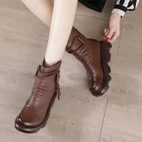 Boots 35,36,37,38,39,40 Two layer pigskin Other / other Middle heel (3-5cm) Muffin bottom top layer leather Short tube Round head cotton cotton Autumn 2020 Side zipper Retro genuine leather Solid color Fashion boots Adhesive shoes winter waterproof Rubbing skin routine