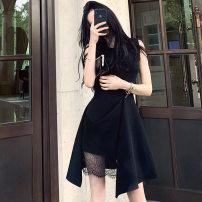 Dress Summer 2021 black S,M,L,XL Middle-skirt singleton  Sleeveless commute Crew neck High waist Solid color Irregular skirt Korean version Lace 81% (inclusive) - 90% (inclusive) brocade