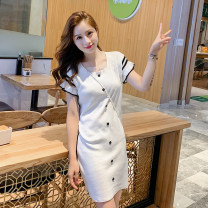 Dress Summer of 2019 White, black Average size Middle-skirt singleton  Short sleeve commute Crew neck Solid color other Type H Other / other Korean version Live shot 20652 31% (inclusive) - 50% (inclusive) knitting other