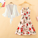 Dress Summer 2020 Average size Short skirt singleton  Sleeveless commute Crew neck High waist Decor Socket other other camisole 18-24 years old Type A Ol style printing 91% (inclusive) - 95% (inclusive) Chiffon polyester fiber