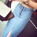 skirt Summer of 2019 S,M,L,XL Light blue, dark blue, 011 T-shirt Mid length dress Retro Natural waist Denim skirt Denim Other / other Button