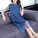 Dress Summer of 2018 Apricot, blue, pink S,M,L,XL,2XL,3XL longuette singleton  elbow sleeve commute stand collar Loose waist Solid color Socket Irregular skirt routine Others 30-34 years old Type H ethnic style organza