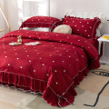 Bedding Set / four piece set / multi piece set cotton Embroidery heart-shaped 133x72 Mmlove / full of love cotton 4 pieces 40 claret Bed skirt First Grade Princess style 100% cotton twill Reactive Print