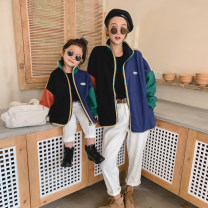 Parent child fashion Color contrast Women's dress neutral Other / other Baby Size 90, baby size 100, Baby Size 110, Baby Size 120, Baby Size 130, mother size M (within 140 kg) loose version, mother size S (within 120 kg) loose version loose coat spring and autumn Korean version routine other cotton