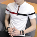 T-shirt Youth fashion M880: white m880: Black m880: gray m881: white m881: Black m881: gray m882: white m882: Black m882: beige M883: white M883: Black M883: beige thin M L XL 2XL 3XL P. Dartzco / Percy Short sleeve stand collar Self cultivation Other leisure summer M880 teenagers routine tide stripe