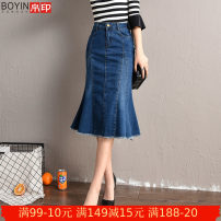skirt Spring of 2019 26 27 28 29 30 31 32 33 34 36 38 40 blue Mid length dress commute High waist Denim skirt Solid color Type X 25-29 years old BY-275QZG 71% (inclusive) - 80% (inclusive) Denim Silk seal cotton Korean version Cotton 76.2% polyester 21.1% viscose 1.5% polyurethane elastic 1.2%