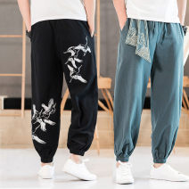 Casual pants Others Youth fashion thin trousers Other leisure easy Micro bomb youth Chinese style middle-waisted Little feet Haren pants Pocket decoration No iron treatment Ethnic style
