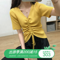 Women's large Summer 2021 White, yellow, black Big L, big XL, big XXL, big XXXL, big M T-shirt singleton  commute Self cultivation thin Socket Short sleeve Solid color Korean version V-neck routine Cotton, modal, vinylon Three dimensional cutting routine WN0002118 Other / other Bandage