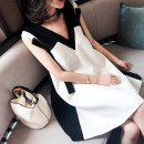 Dress Summer 2020 Picture color L,XL,S,M,2XL,3XL,4XL,5XL Mid length dress singleton  Sleeveless commute V-neck Solid color Princess Dress other 18-24 years old Other / other Korean version Three dimensional decoration WN0000104