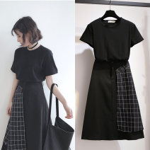 Women's large Summer 2021 black suit  M (90-110kg), l (110-120kg), XL (120-140kg), 2XL (140-160kg), 3XL (160-180kg), 4XL (180-200kg) Dress singleton  commute Straight cylinder moderate Socket Long sleeves Solid color Crew neck Medium length Polyester, cotton, others routine WN0002295 Other / other