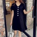 Women's large Summer 2020 E77-q-green, e71-s-black M (recommendation 80-100), l (recommendation 100-120), XL (recommendation 120-140), 2XL (recommendation 140-160), 3XL (recommendation 160-180), 4XL (recommendation 180-200) Dress singleton  commute easy moderate Socket Short sleeve Solid color V-neck