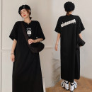 Dress Summer 2021 black L,XL,2XL,3XL longuette singleton  Short sleeve commute Crew neck Loose waist letter Socket Pleated skirt routine 25-29 years old Type H Korean version printing 81% (inclusive) - 90% (inclusive) brocade cotton